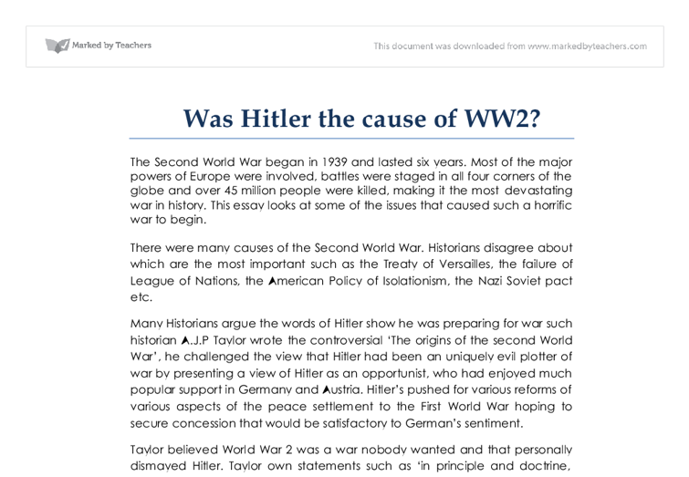 Was hitler the cause of ww2 a j p taylor wrote the controversial