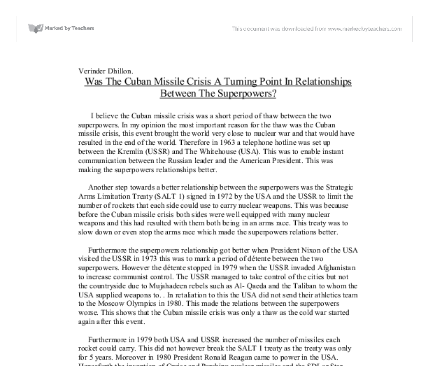 cuban missile crises essay The cuban missile crises' origins began at the end of the world war 2 after the  war about to end the united states and the ussr started to.
