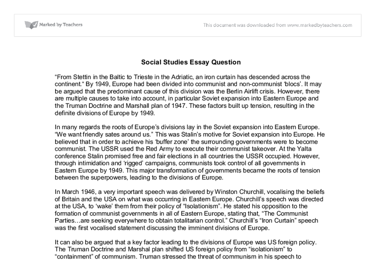 cold war divisions of europe by gcse history marked by  document image preview