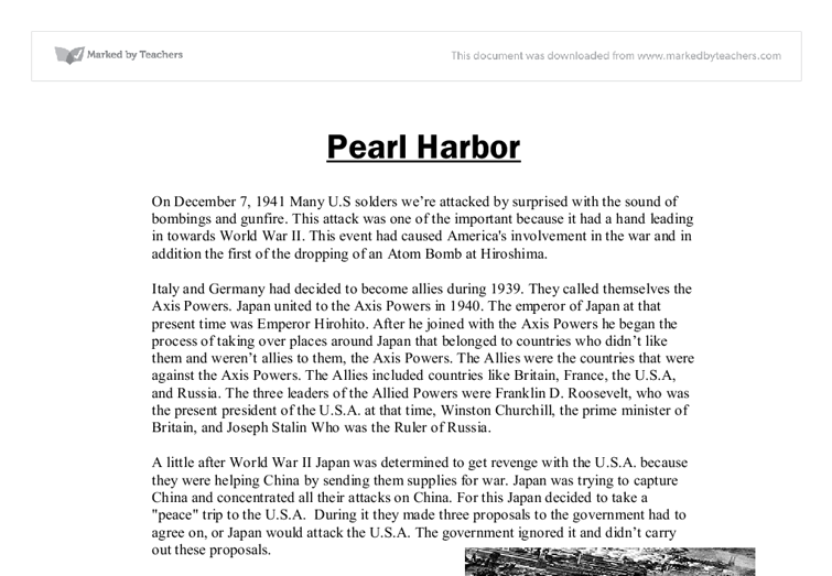 japanese attack on pearl harbor essay The japanese launched a surprise air attack on the us naval base at pearl harbor, damaging or sinking 21 ships and destroying more than 188 aircraft.