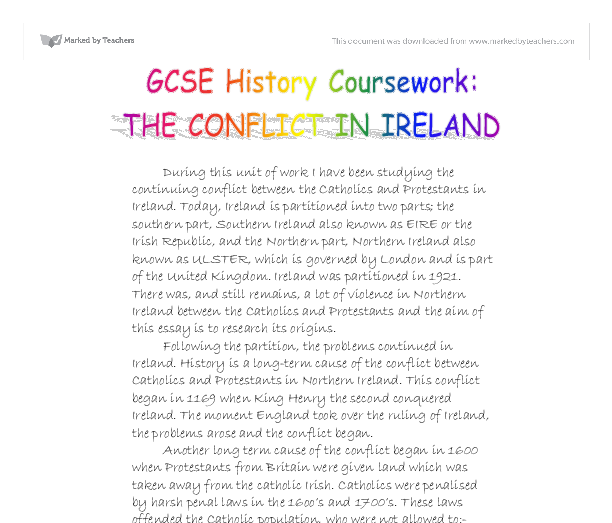 northern ireland coursework gcse