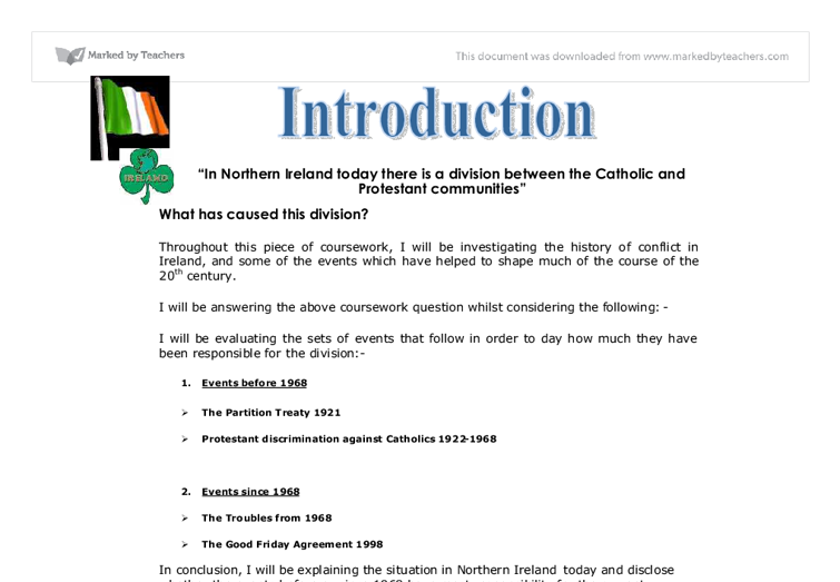 gcse northern ireland essay Our gcse history specification encourages students to consider the relevance of   now single tier and contain a mixture of question styles, from short responses  to essays  option 1: changing relations: northern ireland and its neighbours, .