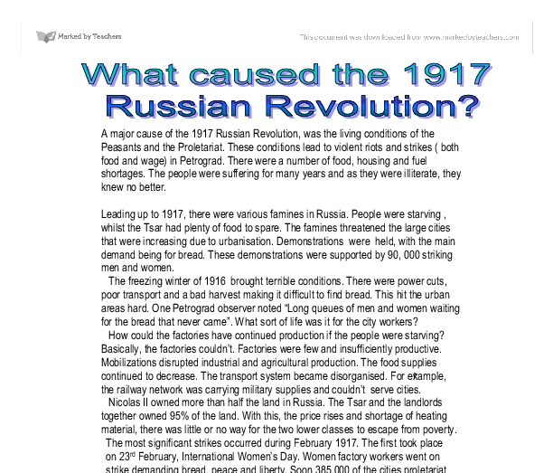 Examples List on Russian Revolution