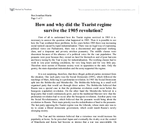 Why did the russian tsarist regime