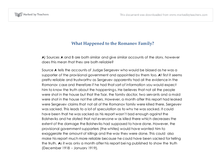 what happened to the romanov family essay