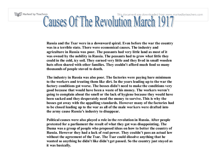 russian march revolution essay The russian revolution of 1917 was one of the most significant events in the 20 th riots broke out on march 8 david r lenin's revolution: russia, 1917-1921.