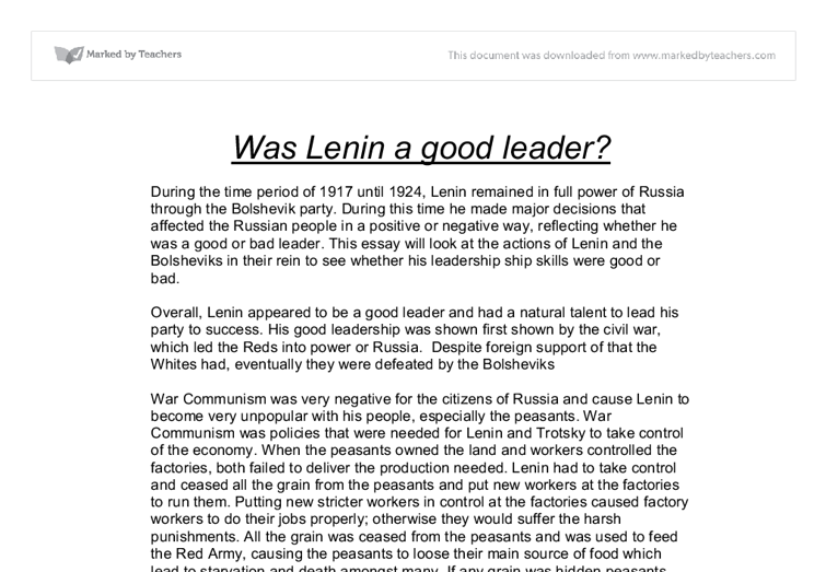 was lenin a good leader gcse history marked by teachers com document image preview