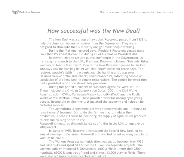 how successful were the new deals? essay Share on facebook, opens a new window share on twitter, opens a new window share on linkedin share by email, opens mail client how effective were there responses how.