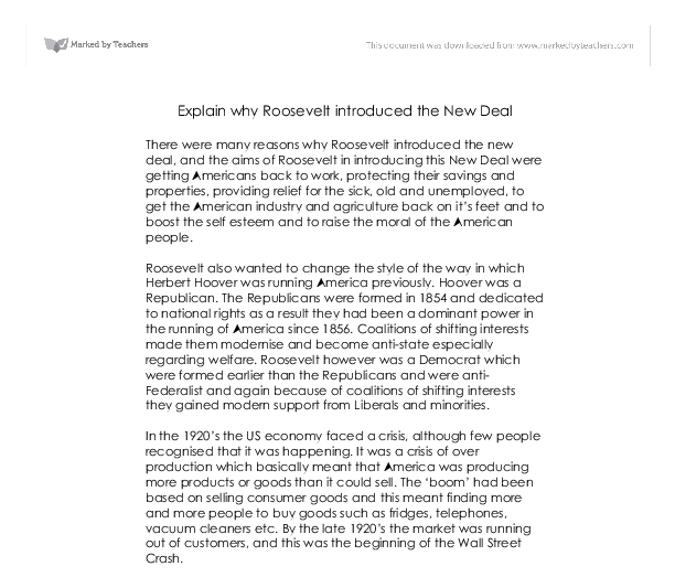 essays that explains the second new deal A secondary school revision resource for gcse history about modern world history, usa and the second new deal.