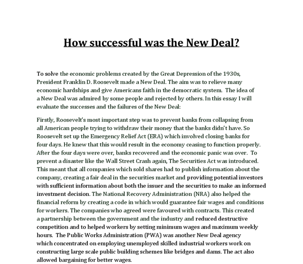 how successful was the new deal gcse history marked by  document image preview