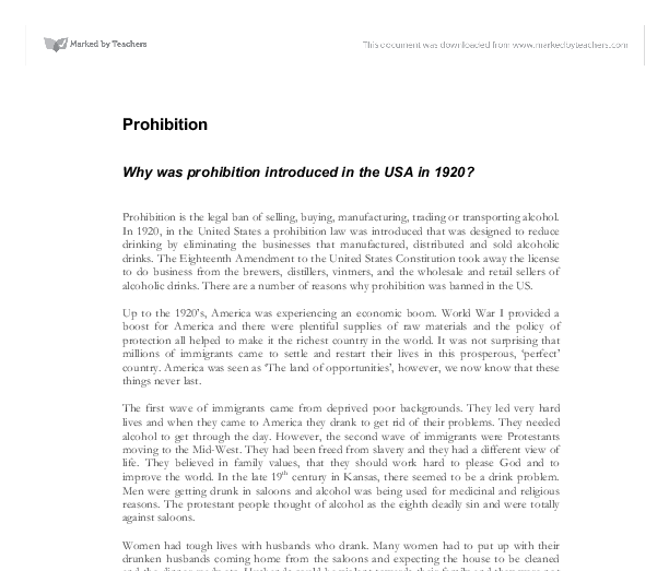 prohibition evaluation for failure essay I am going to structure my answer by first saying how each source proves that the failure of prohibition was we will write a custom essay sample on do these.