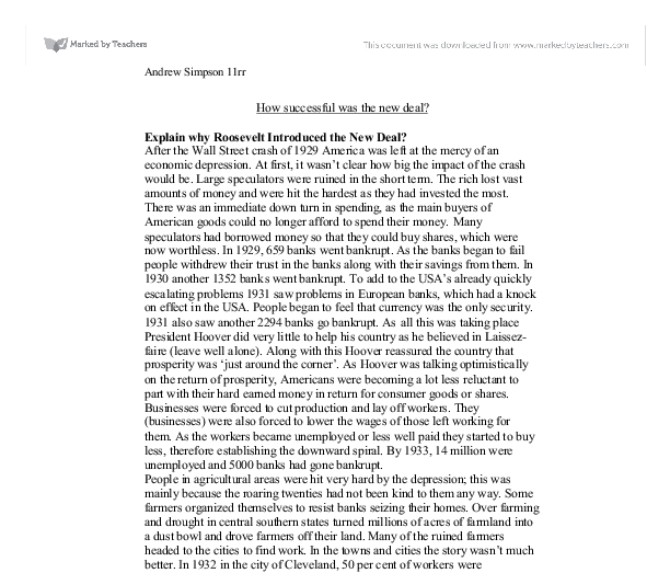 new deal essay introduction New deal essay examples an essay on the issues surrounding president roosevelt's new deal 278 words 1 page an introduction to the history of the new deal in.
