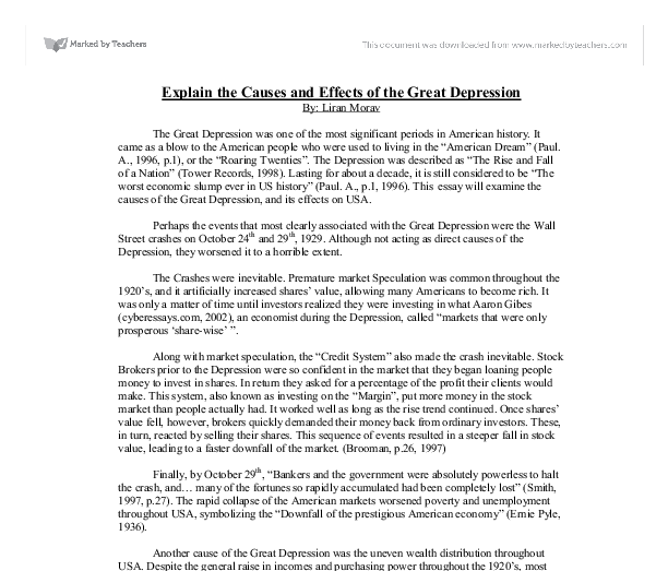 essays on the great depression pdf