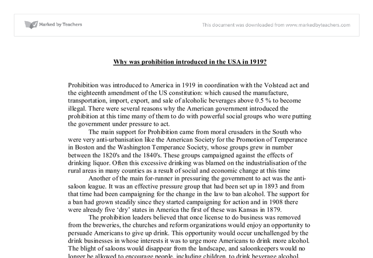 the introduction of prohibition essay The rise of the american mafia history essay introduction prohibition has long been if you are the original writer of this essay and no longer wish.