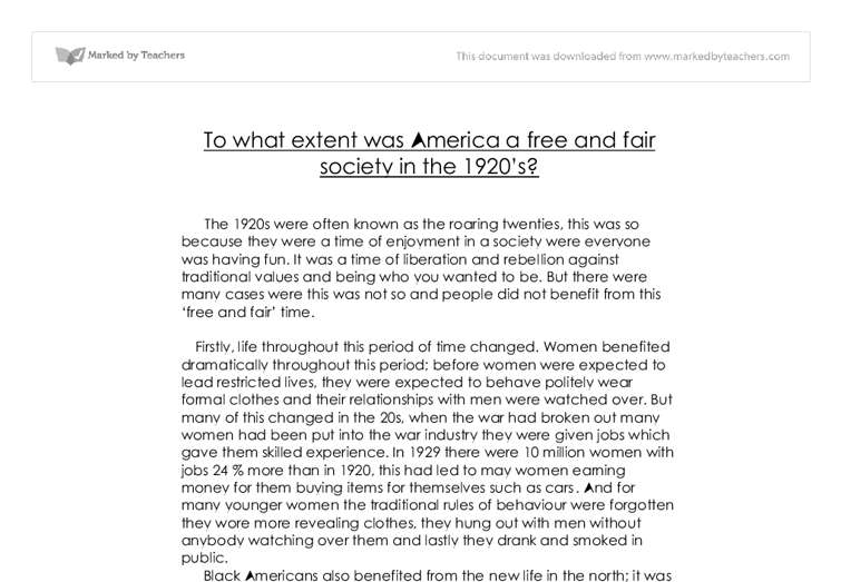 to what extent was america a and fair society in the s  document image preview