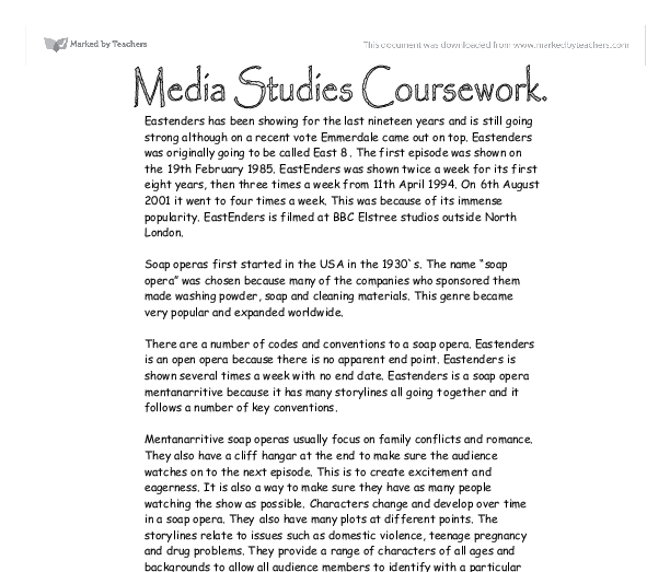 media studies as level coursework