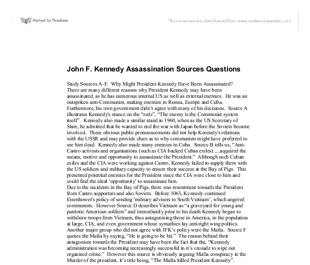 john f kennedy assassination sources questions gcse history  document image preview