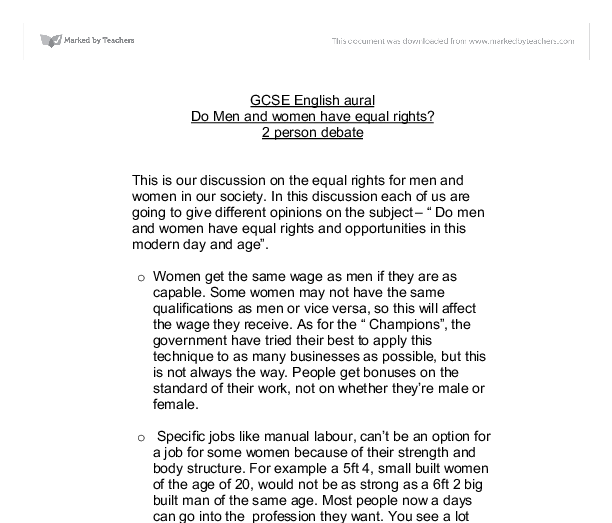 do men and women have equal rights gcse history marked by  document image preview