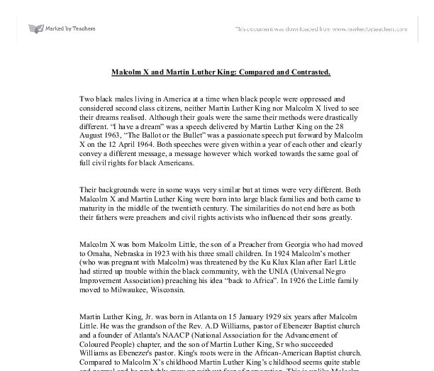 1 page essay on martin luther king malcolm x comparing