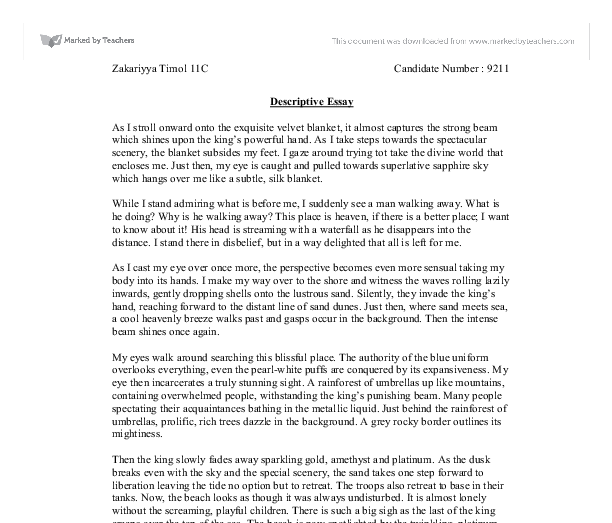 descriptive essay about a peaceful place Doing it on your own: what you have to know about writing if you are having trouble trying to create an effective descriptive essay about a place.