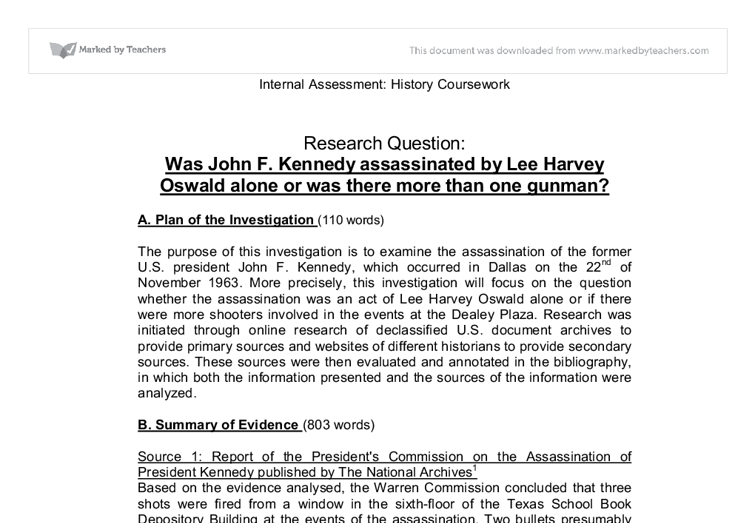 was john f kennedy assassinated by lee harvey oswald alone or was  document image preview