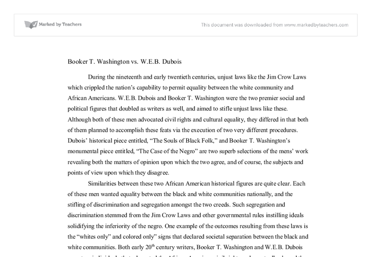 booker t washington vs w e b dubois gcse history marked by  document image preview
