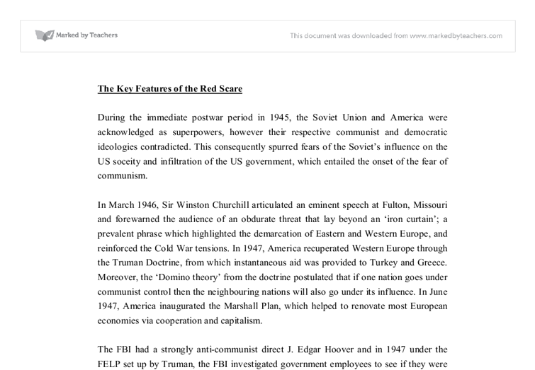 the key features of the red scare gcse history marked by  document image preview