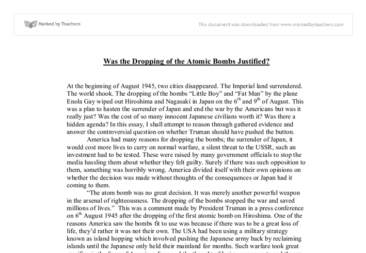 were the dropping of the atomic bombs justified gcse history document image preview