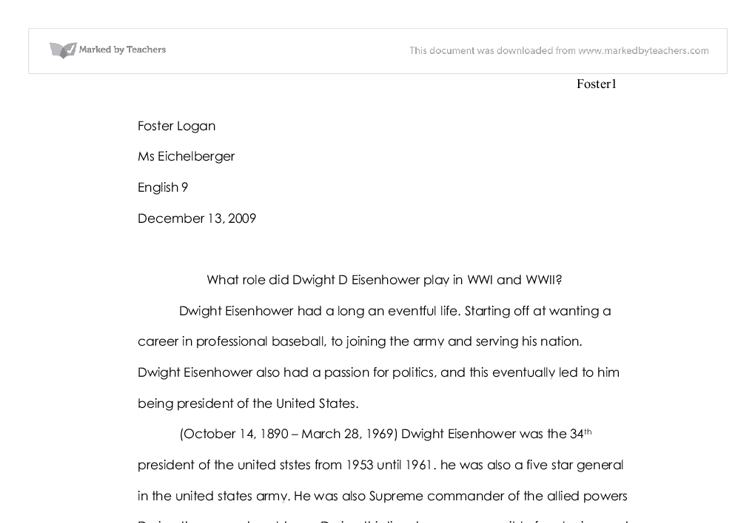 Dwight d eisenhower essay