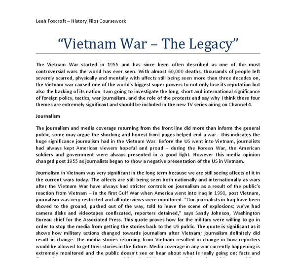 vietnam coursework gcse Our gcse, as and a-level history qualifications offer schools, colleges and students the opportunity to study a range of periods from history in a variety of ways - from both national and international perspectives.