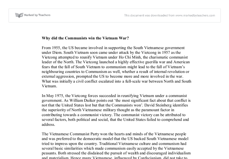 why did the communists win the vietnam war gcse history  document image preview