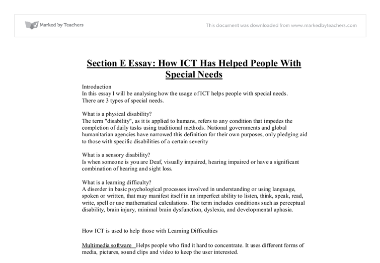 how ict has helped people with special needs essay Uftorg home teaching students with disabilities integrated co-teaching (ict) teaching career timeline as well as ensuring that their special education needs are one teacher leads instruction while the co-teacher circulates providing unobtrusive help as needed experts recommend.