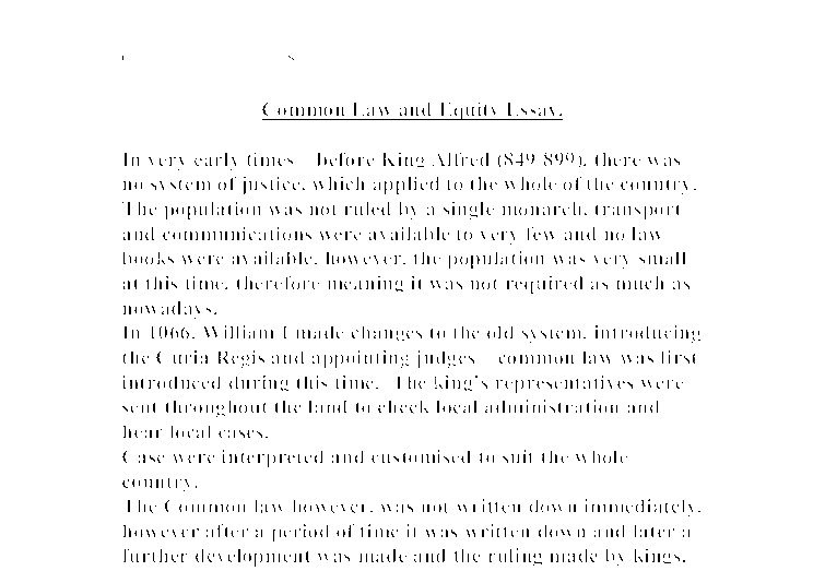 history of common law and equity essay