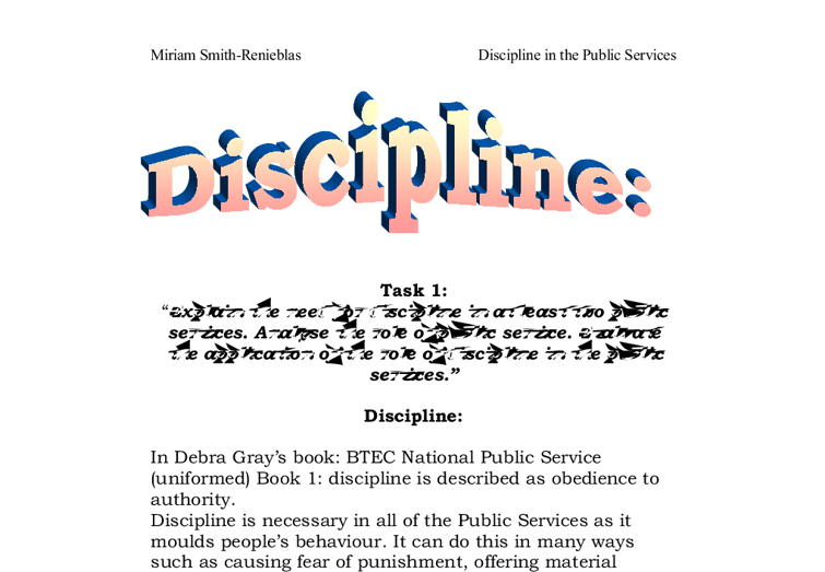 explain the need for discipline in at least two public services document image preview