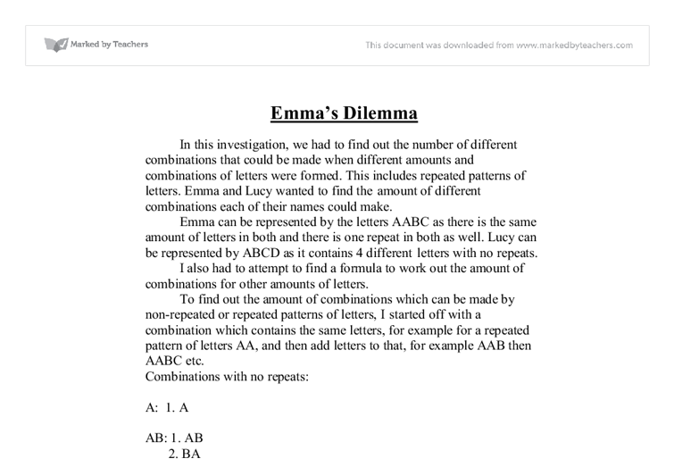 emmas dilemma essay Ethical dilemmas facing social workers social work  if you are the original writer of this essay and no longer wish to have the essay published on the uk.