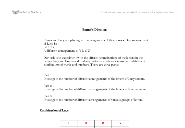 emmas dilema maths coursework Maths gcse coursework: emma's dilemma extracts from this document introduction  looking for expert help with your maths.