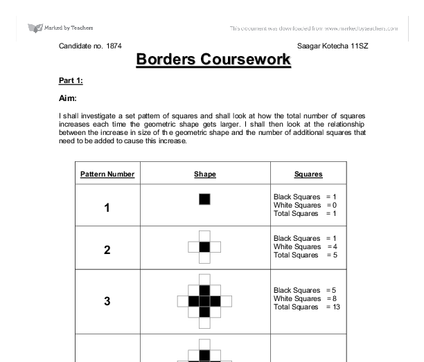Gcse maths coursework borders