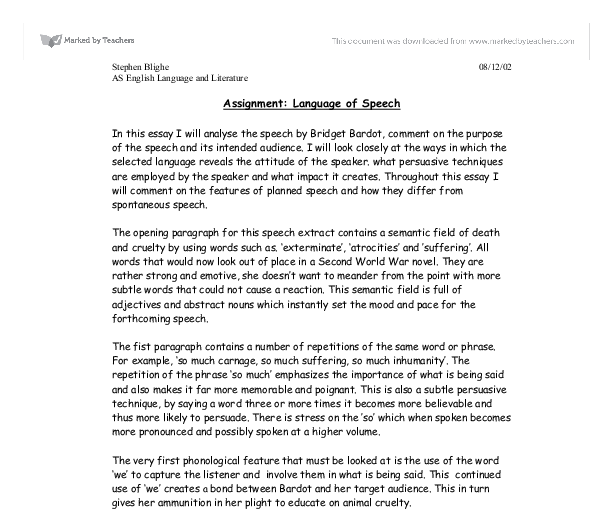 language of speech in this essay i will analyse the speech by  document image preview