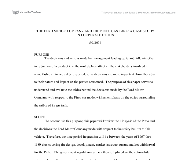 the ford motor company and the pinto gas tank a case study in corporate ethics