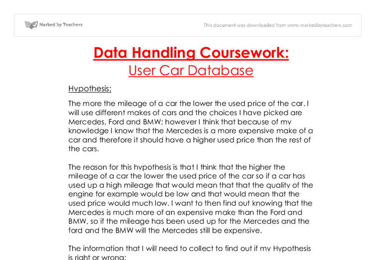 Data Management GCSE coursework
