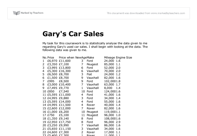 garys car sales coursework 207 reviews of harvard auto sales i am a mother of 4 thanks bader and gary see more 5 door hatch, lots of space, satin pearl white, awd of course.