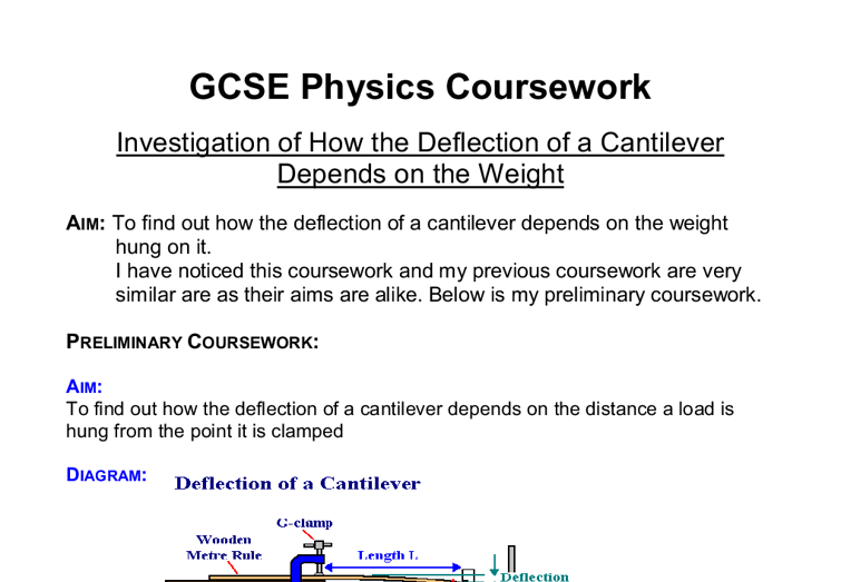 Physics coursework help