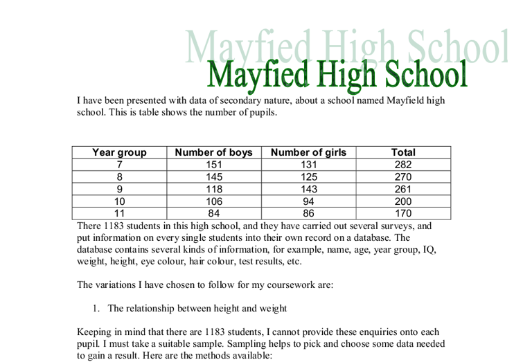 Mayfield High School Statistics Coursework Introduction – 817651