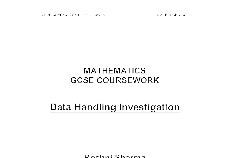 data handling coursework maths One on using and applying mathematics, the other on handling data outline for handling data coursework: saturday 07/02/04 deal class coursework workshop.