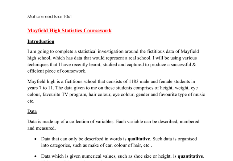 Mayfield high school statistics coursework