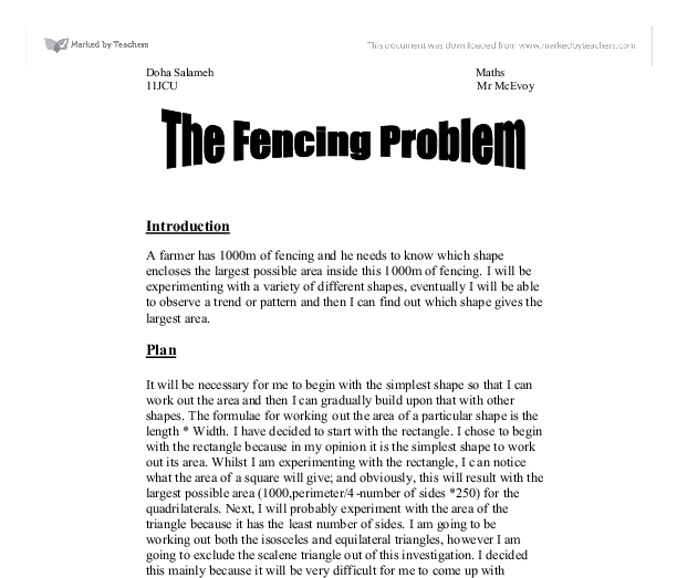 the fencing problem coursework