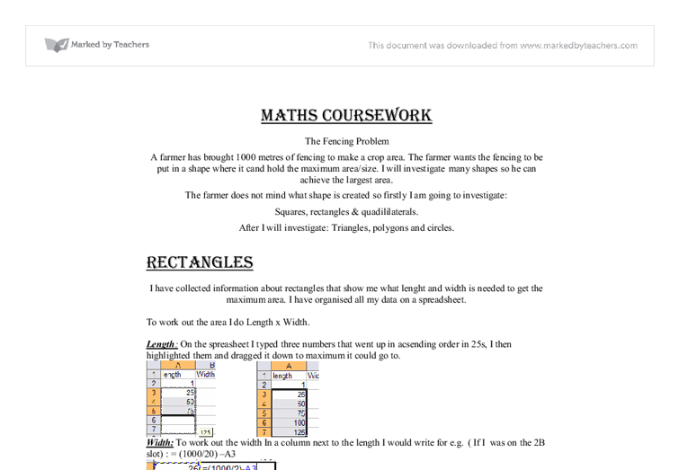 maths coursework the fencing Maths studies ia exploration topics: how can you optimise the area of a farmer's field for a given length of fence a chance to use some real life maths.