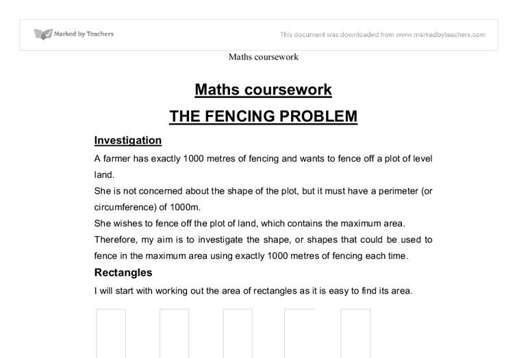 maths coursework the fencing problem