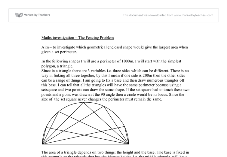 gcse maths coursework the fencing problem