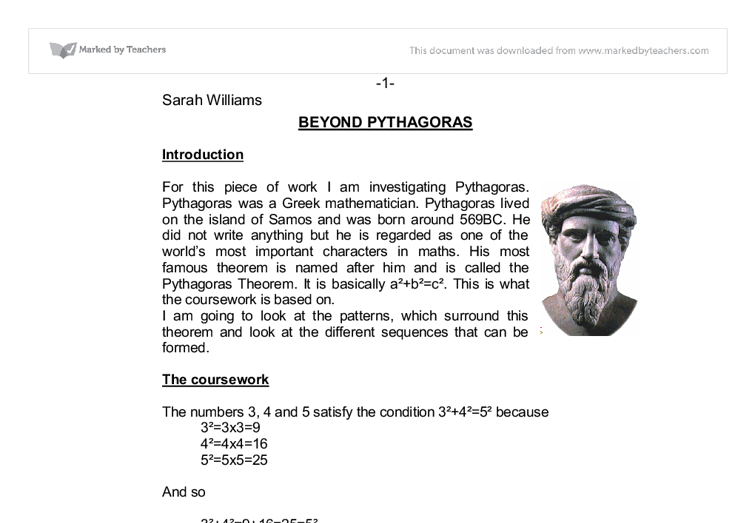 an essay about the great greek mathematician pythagoras Download thesis statement on biography of pythagoras (greek philosopher and mathematician) in our database or order an original thesis paper that will be written by.